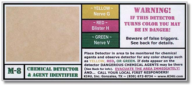 Chemical Agent Detection Paper (M8, M9, 3-Way)